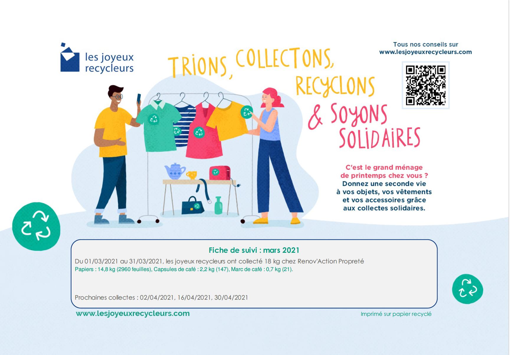 Read more about the article Les joyeux recycleurs – reporting de mars