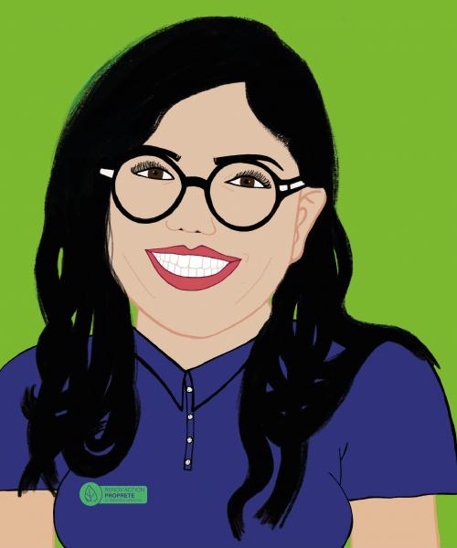 Sarah fond vert clair avec logo