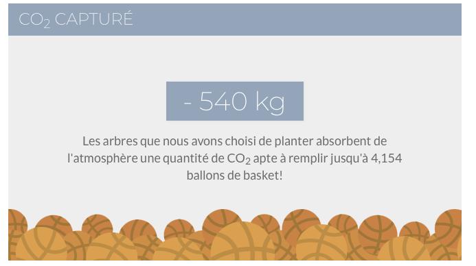 -540 kg de CO2 soit 4154 ballons de basket