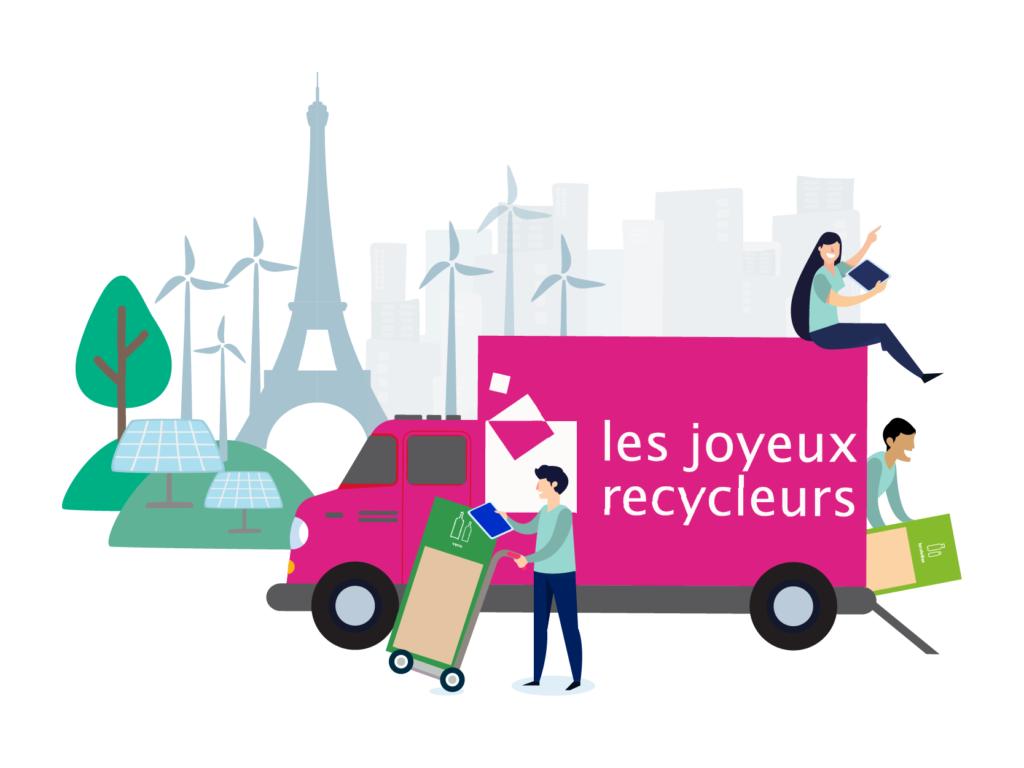 Camion les joyeux recycler devant la Tour Eiffel.